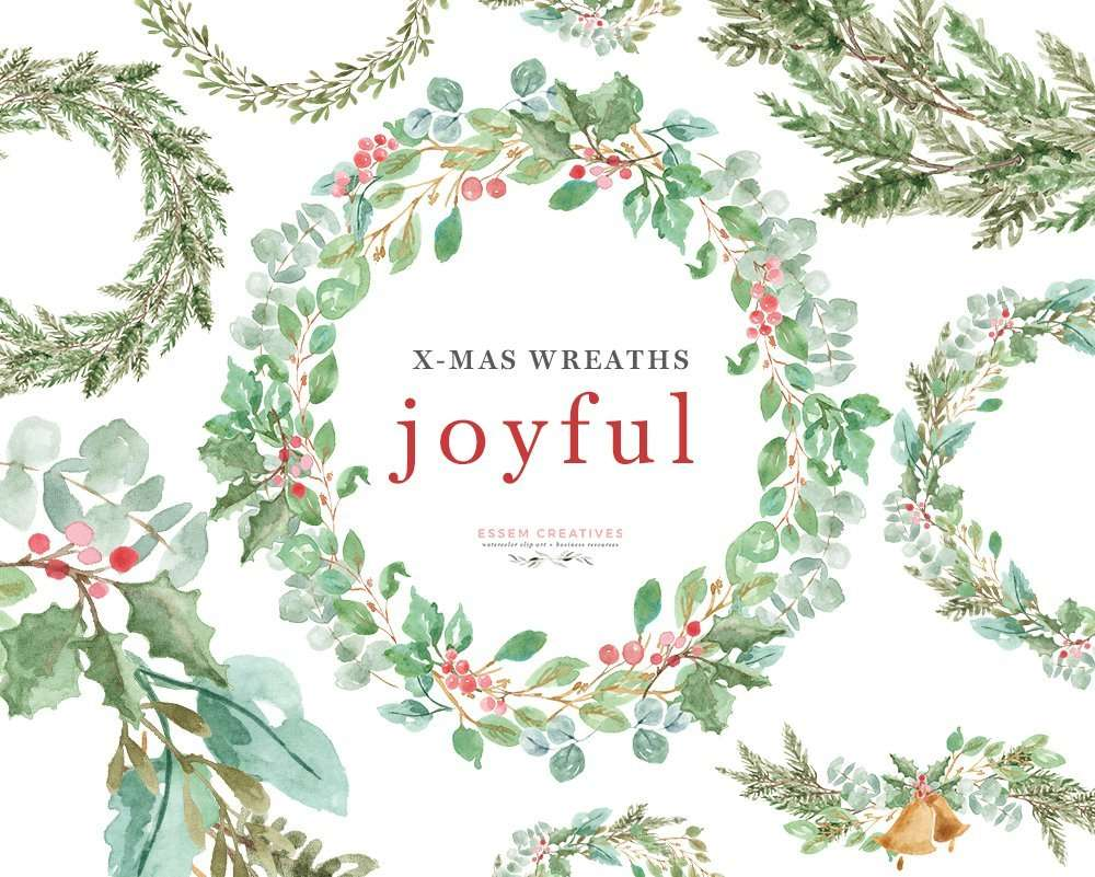 this is a set of lush watercolor christmas wreath clipart set in a greenery leaves theme