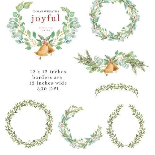 This is a set of lush Watercolor Christmas Wreath Clipart set in a greenery leaves theme. It includes digital wreaths featuring holly jolly, eucalyptus greenery wreaths, mistletoe wreaths, pine and conifer branches wreaths which are perfect for christmas cards, christmas party invitations, gift tags & holiday greetings. Make holiday cards, printable wall art, gift tags, seasonal graphics for your shop for christmas sales season and more. Click to see more>> #christmaswreath #christmascard