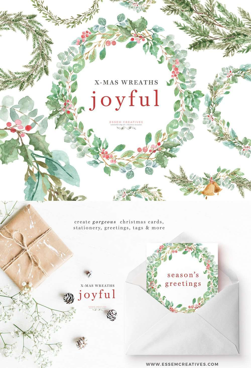 Watercolor Christmas Wreath Clipart for Holiday Cards | Essem Creatives