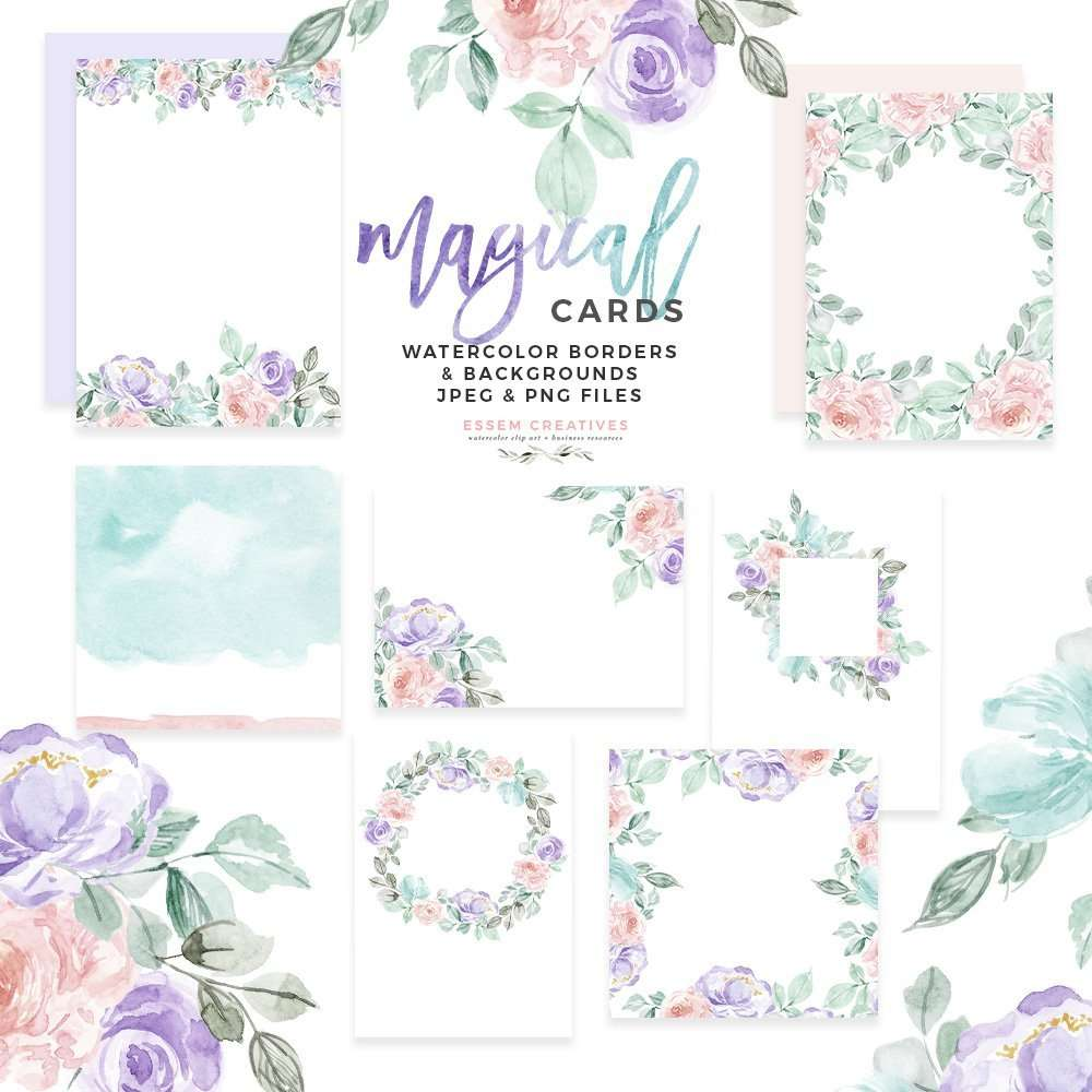 A set of MAGICAL watercolor Card Border Templates and digital papers in pastel rainbow unicorn colors featuring purple and pink florals and whimsical soft and airy watercolor washes and textures. Perfect for magical fairtytale theme, unicorn, rainbow, winter theme projects. This digital paper pack is perfect for wedding invitations, save the date cards, birthday party invitations, baby showers sprinkles, scrap booking, fashion blog. #weddinginvitations #birthdayparty #watercolorclipart