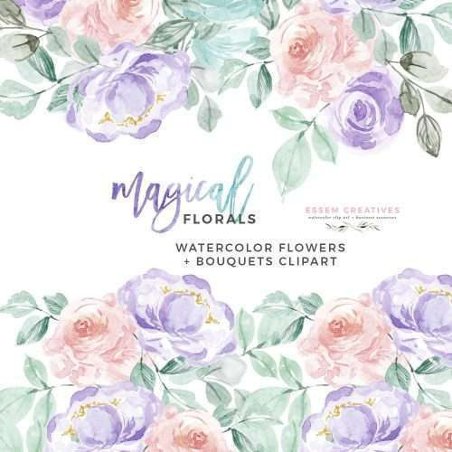 MAGICAL FLORALS is a set of floral watercolor flowers clipart set. Painted in a unicorn inspired rainbow color palette featuring pastel colors such as purple, pink, teal and green, this set features delightful and soft florals. Perfect for invitation cards, greetings, table numbers, save the date, baby sprinkle or baby shower games etc. These also work well for logos and branding projects. #babyshower #birthdayparty #firstbirthday #weddinginvitation #watercolorclipart #graphicdesign