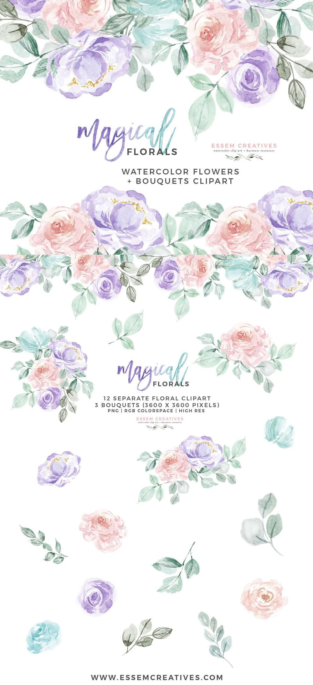 Watercolor Flowers Clipart Png With Transparent Background Purple