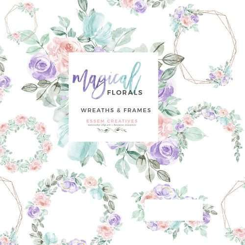 This is a set of MAGICAL watercolor floral wreaths & frames clipart set in pastel rainbow unicorn colors features lush digital pink rose wreath, purple and pink floral wreath, rose gold geometric borders and floral drop. Perfect for magical fairtytale theme, unicorn, rainbow, winter theme projects. Make wedding invitations, save the date cards, birthday party invitations, baby showers sprinkles, feminine blog & website branding, planner stickers, planner dashboard, fashion blog branding & more.