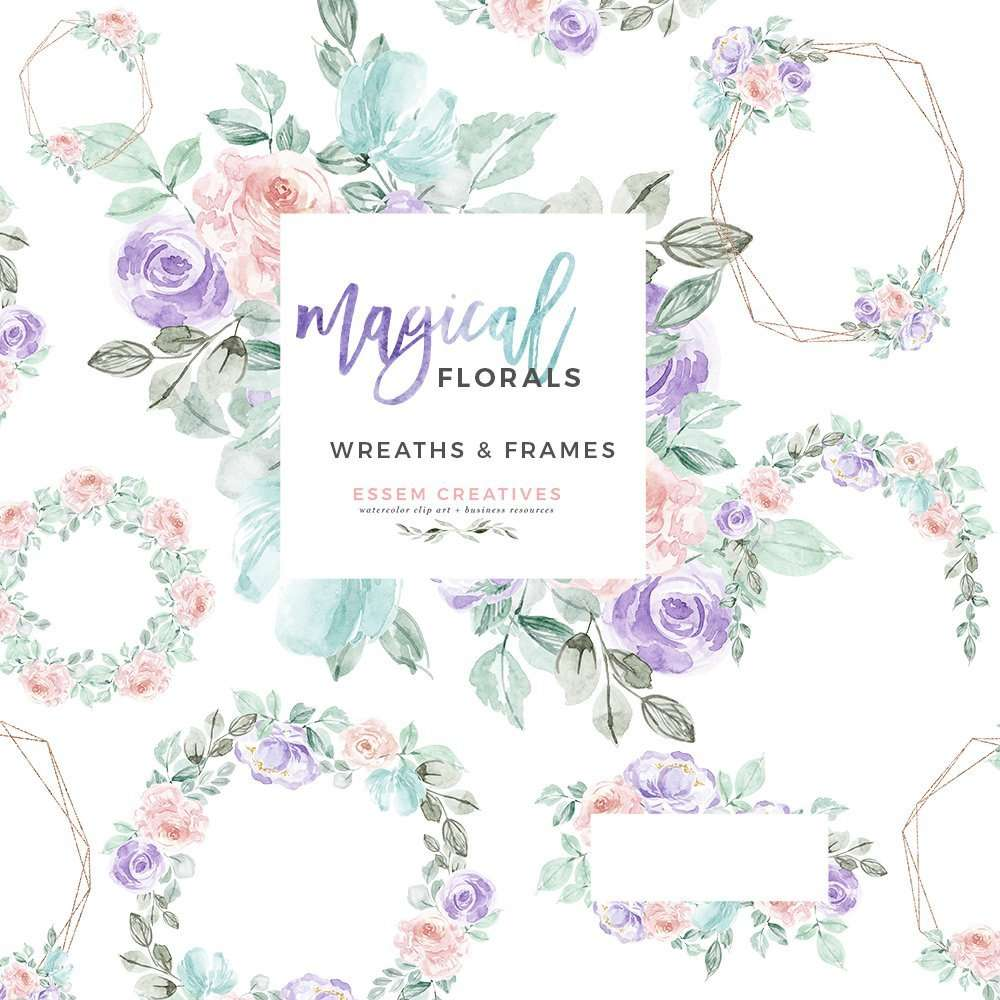 Unicorn magical. Watercolor winter floral wreath