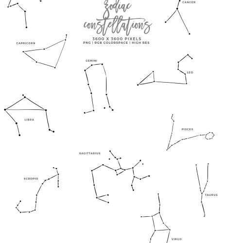 This is a set of Zodiac Sign Clipart. Perfect for projects relating to Astrology & Constellations, celestial objects and more. These graphics include all 12 sign Aries Taurus Gemini Cancer Leo Virgo Libra Scorpio Sagittarius Capricorn Aquarius Pisces. Constellation clipart is perfect for children's birthday party invitations, birth announcement, nursery and home wall art print decor, planner stickers, product packaging, logo and blog branding, spiritual branding, mystic healing etc. #astrology
