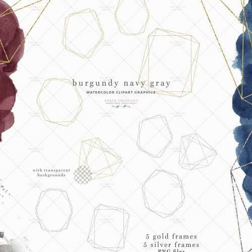 BURGUNDY NAVY GRAY is a set of watercolor splash clipart graphics, gold & silver polygonal geometric shapes & frames, borders & backgrounds. All graphics are high resolution & are suitable for large prints. Perfect for scrapbooking, wedding invitations, watercolour logos, bridal shower invites & paper, welcome signs, packaging, wall art, planners, planner accessories, for sprucing up your website, for your social media posts. #weddinginvitations #burgundywedding #savethedate #planneraccessories