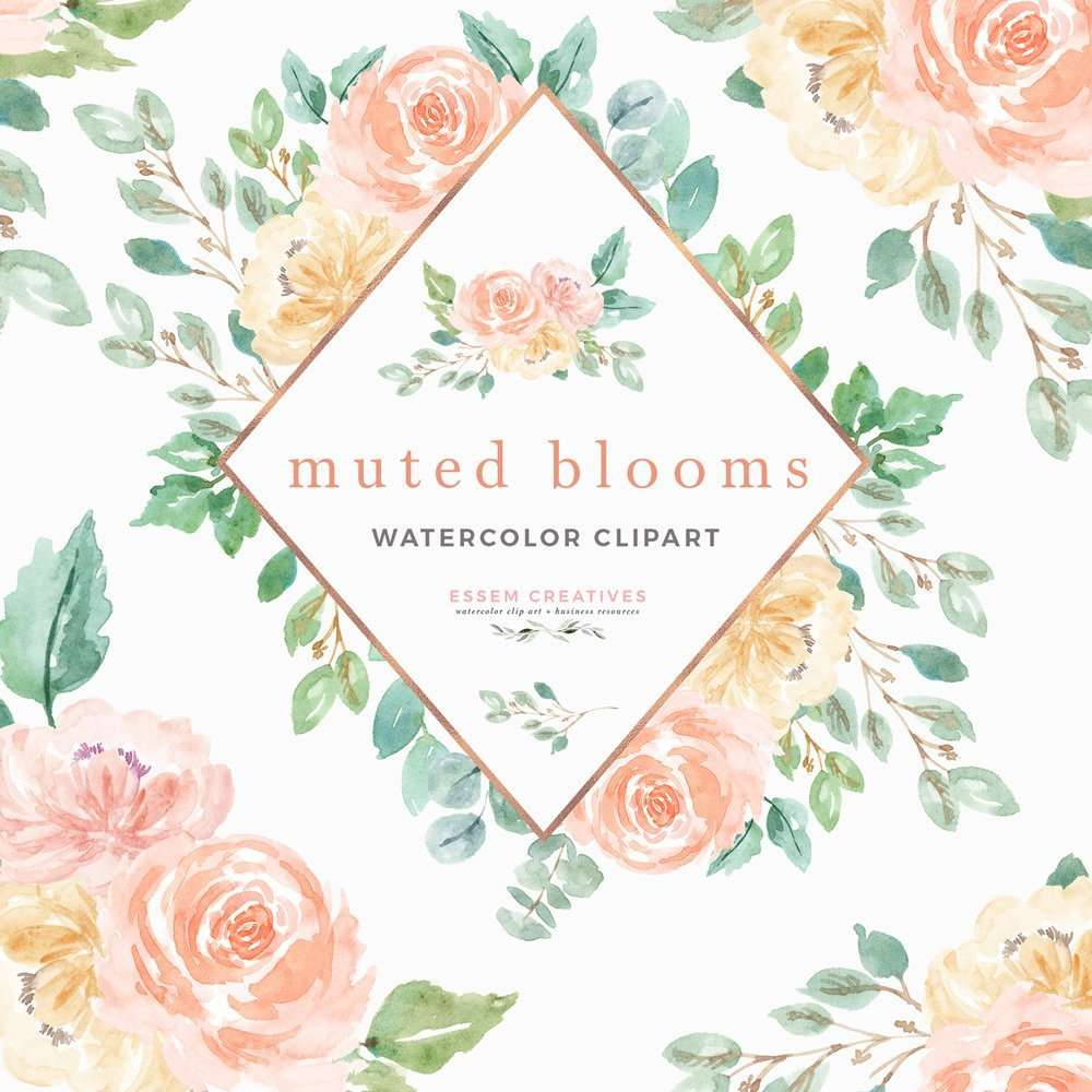 Watercolor Flowers Clipart Muted Blooms Peach Cream Blush