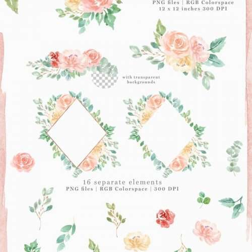 Do you want to make your own Watercolor wedding invitation? Or may be a birthday party invitation? This is a set of floral watercolour flowers clipart which will help you make your project quickly & easily. Use the same graphics used by professional graphic designers to get a professional watercolour touch in your DIY craft project! Click to see more>> #weddinginvitations #savethedate #watercolorclipart
