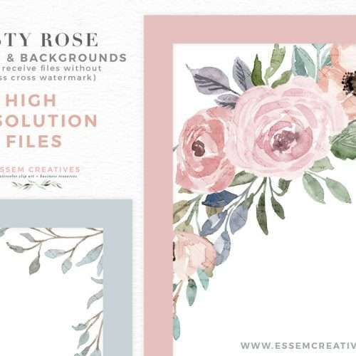 A set of DUSTY ROSE & DUSTY BLUE watercolor floral card borders & backgrounds clipart. Perfect for watercolor wedding invitations, feminine blog & website branding, planner stickers, planner dashboard, planner inserts, scrap booking, fashion boutique, fashion blog, party decor, photography marketing, children's birthday party & baby shower sprinkle invites, surface pattern design, fabric printing etc #watercolorclipart #plannerstickers #weddinginvitations #savethedate >>