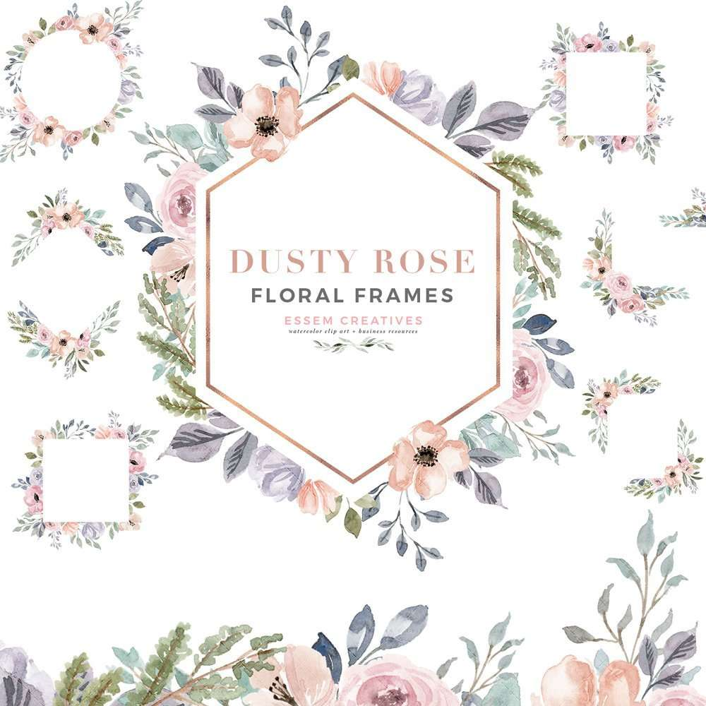 Dusty Rose Watercolor Floral Frames Clipart With Geometric Rose Gold