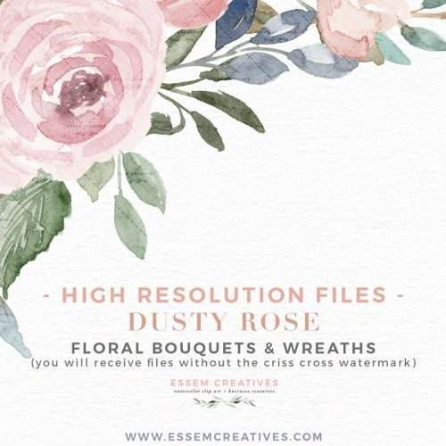DUSTY ROSE Bouquets & Wreaths is a set of watercolor floral wreath bouquet clipart graphics set. Painted in neutral soft colors of dusty rose pink, cream, dusty blue, and soft greenery shades, this set is perfect for classic, vintage style watercolor wedding invitations, bridal shower party, baby shower, Save the Date cards, birthday party invitations, logo branding packaging design, planner stickers & accessories, and more. #watercolorclipart #plannerstickers #weddinginvitations #savethedate >>