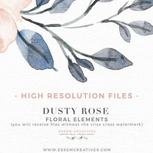 DUSTY ROSE is a set of watercolor flowers & leaves clipart set. Painted in neutral soft colors of dusty rose pink, cream, dusty blue, and soft greenery shades, this set is perfect for watercolor wedding invitations, Save the Date cards, birthday party invitations, planner stickers & accessories, and more. Features garden roses, anemones & peonies, and romantic soft grey blue leaves and branches - perfect for spring designs. #watercolorclipart #plannerstickers #weddinginvitations #savethedate >>
