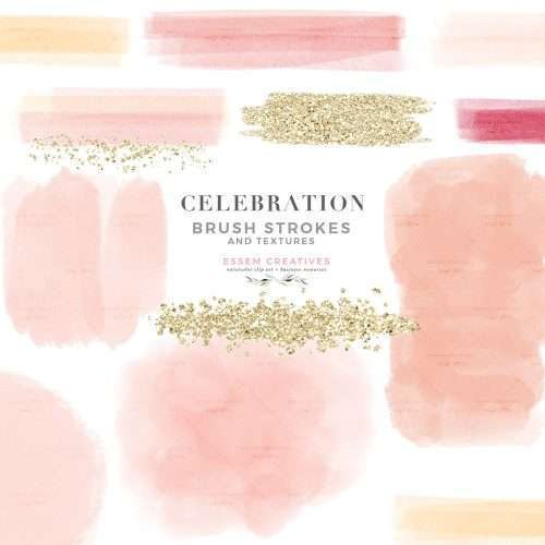 CELEBRATION BRUSH STROKES is a set of watercolor brush strokes, textures and confetti labels clipart graphics as PNG files. These have been hand drawn in a darling color palette featuring blush pink, peach, cream, red, and gold glitter. DIY graphic design creations for planner stickers, bullet journal, digital planning, blog, branding, logo design, birthday party & bridal shower invitations, valentines day cards, planner stickers, planner dashboard decor, wall art prints and more #digitalplanner