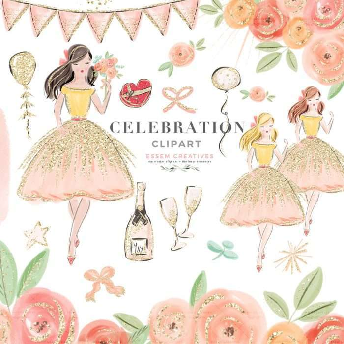 CELEBRATION is a set of fashion girl illustration drawing feat. sketches of a girl wearing a pink and gold dress holding a bouquet of flowers. Digital cliparts of flowers, heart shaped chocolate box, gold glitter balloons and gift bows, sparkles, confetti, bunting garlands, champagne bottle and glasses, fireworks. Branding, logo design, birthday & bridal shower invitations, valentines day cards, planner stickers, planner dashboard decor, wall art prints>> #valentinesday #fashionillustration