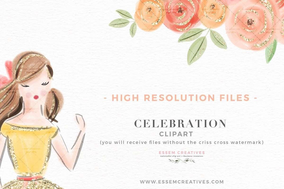 Celebration Party Fashion Girl Illustration Clipart