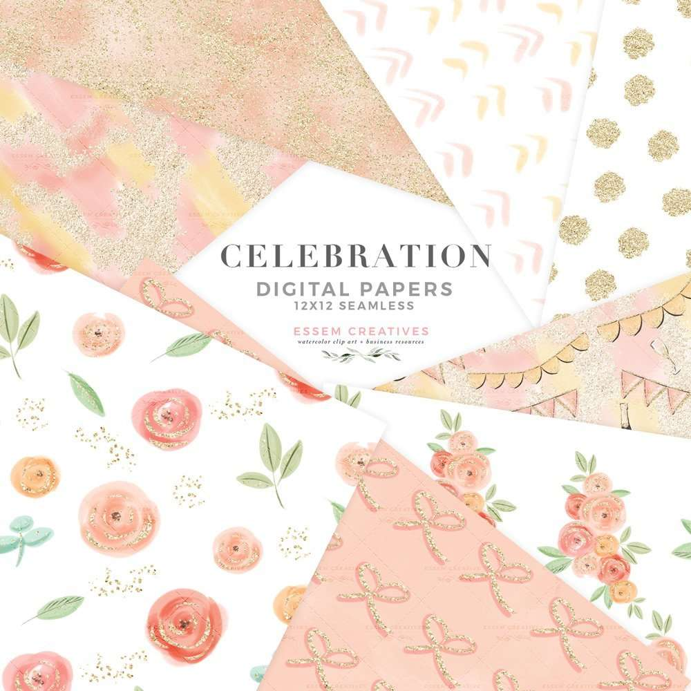 Celebration Party Valentines Day Digital Papers Pink Peach Floral