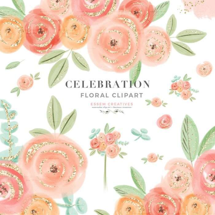 CELEBRATION FLORALS is a set of floral watercolor clipart. These hand drawn cute & whimsical flowers and leaves are perfect for your graphic design projects. These will add a touch of floral whimsy and delight to any crafting. Save the date cards, wedding invitations, photography marketing material, feminine logo and blog brand, birthday party, baby shower, bridal shower invitations, valentines and galentines day cards, planner stickers, planner dashboard decor, wall art prints >> #watercolorart
