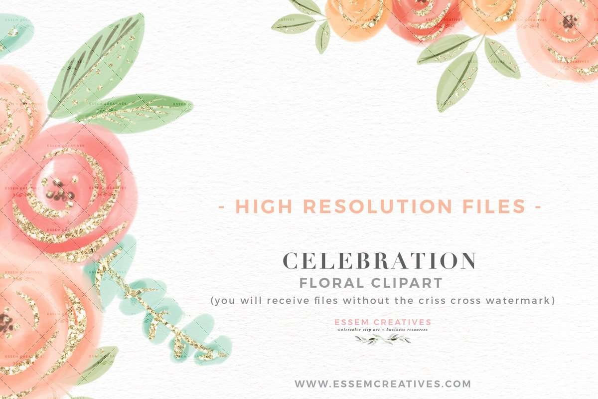 Cute Pretty Peach Pink Watercolor Flowers Clipart with ...