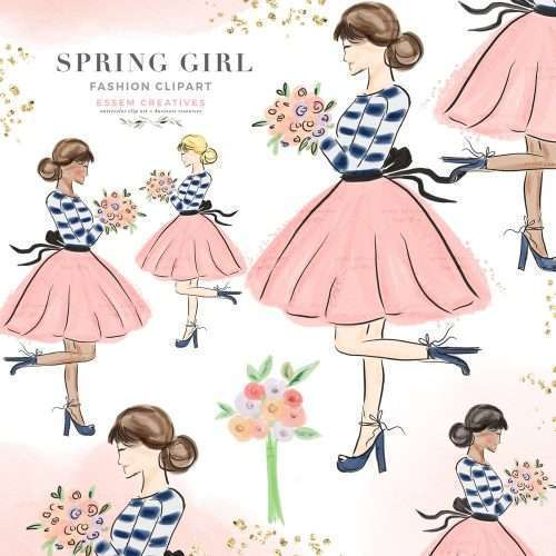 Fashion illustration of lovely girl holding a bunch of flowers. She's wearing a chic navy blue top and a pink frilly skirt with a bow. Available in different hair and skin color combinations like light skin, dark skin, blonde hair, brown black hair. This hand drawn sketch of a spring inspired girl is perfect for logo & branding, poetry background design, planner stickers, planner dashboard decoration, valentine's day invitations and card, wall art print, chic home office wall art print and more.