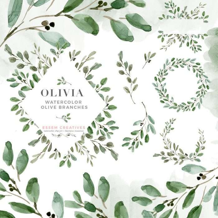 Watercolor Olive Branch Leaves Clipart, Rustic Laurel Wreath Frames PNG Graphics for Greenery Wedding Invitation | This is a set of rustic watercolor olive branches, leaves, wreaths and frames clipart. This set also features a Bonus matching olive green watercolor splash clipart. Also included are 2 seamless repeat patterns which work great as digital papers, envelope liners, surface pattern designs. Perfect for watercolor wedding invitations, logo branding & more Click to see #watercolorclipart