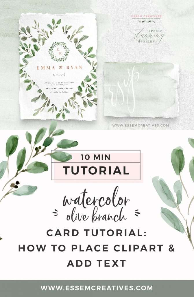 Watercolor Olive Branch Card Tutorial | Learn how to place digital clipart graphics in MS Word or Pages, and add your own custom text on top. Create stunning watercolor wedding invitations, birthday party cards, welcome signs, posters and flyers and more.