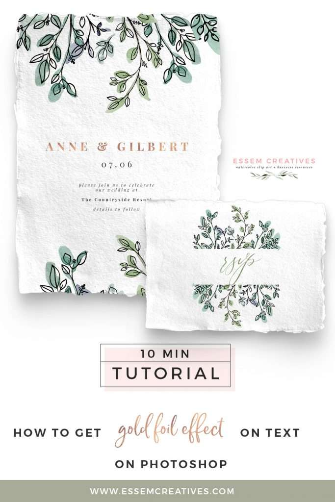 Have you seen those beautiful designs with gorgeous shiny text with rose gold foil effect or simply a watercolor effect, and you want to get that same effect in your designs? Well, now you can! It's really easy and soon you'll be adding this effect to all your designs if you're not careful (like me!)! Click to follow along a simple video tutorial on how how to do this>> #designtutorial #diydesign #scrapbooking #weddinginvitations #birthdayinvitation #bridalshower #babyshower #photoshoptutorial