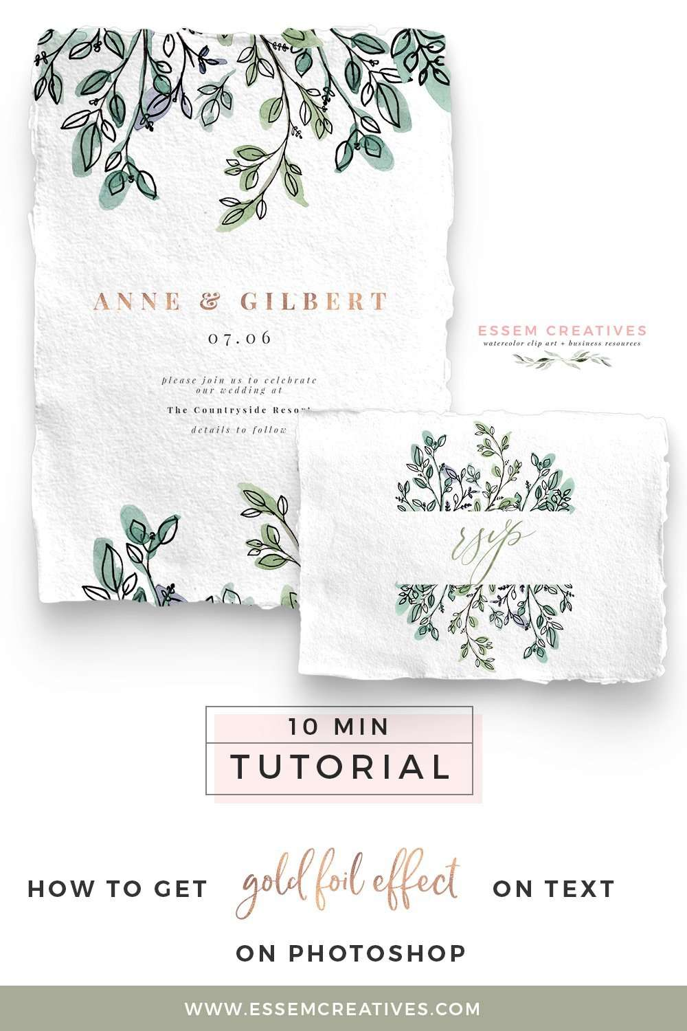 How to Get Rose Gold Foil or Watercolor Effect on Text on