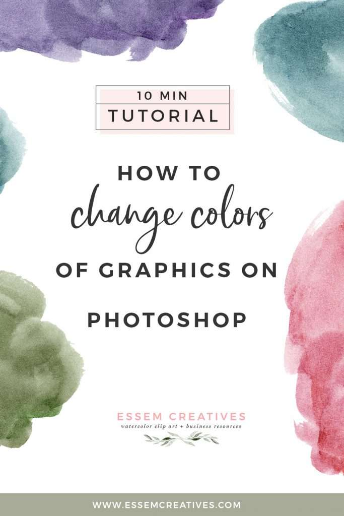 Do you want to change the colors of some watercolour graphics / clipart? You can do it easily on Photoshop. Click to follow along a simple video tutorial on how how to do this>> #designtutorial #diydesign #scrapbooking #weddinginvitations #birthdayinvitation #bridalshower #babyshower #photoshoptutorial