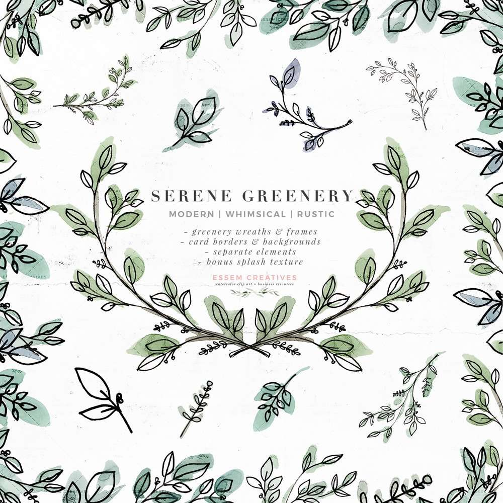Serene Greenery Watercolor Leaves Clipart Rustic Botanical Line