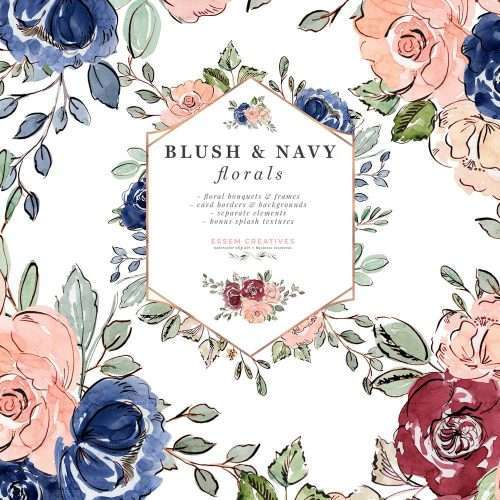 Blush and Navy Blue Watercolor Flowers Clipart, Floral Wedding Invitation Backgrounds, Rose Gold Foil Geometric Floral Frames Hexagon Greenery Frames, Burgundy Blush and Navy Wedding, 2019 2020 2021 Wedding Invitation Design Trends, Garden Wedding, Country Wedding, Romantic Save the Date Card, Boho Girl Boy Birthday Party Invitations, Baby Shower Nursery Wall Art, Floral Bouquets & Borders for Crafts Scrapbooking Logo & Branding Planner Stickers #weddinginvitations #watercolor #blushandnavy