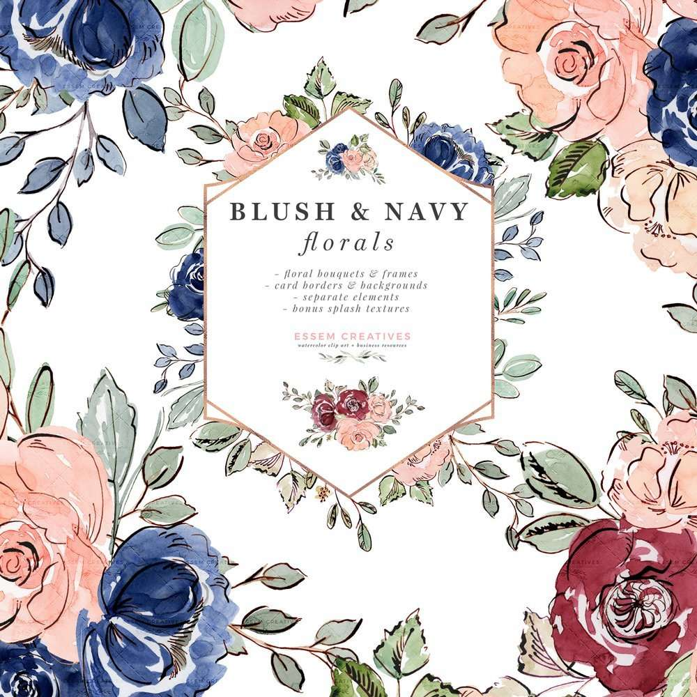 Blush And Navy Blue Watercolor Flowers Clipart Wedding Invitation