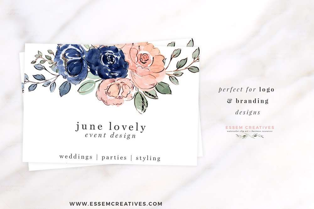 Blush and Navy Blue Watercolor Flowers Clipart, Wedding ...
