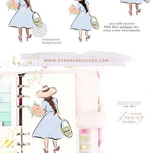 Easter Girl on Egg Hunt Holding a Basket and Spring Flowers Clipart Digital Graphics Illustrations | Easter Clipart | Easter decorations, easter crafting, kids egg hunt party invitations, easter crafts, DIY craft projects, Easter digital Scrapbooking, Easter Planner spread, digital planner decoration, digital planner stickers, logo branding, social media post graphics. Click to see more>> #easter #egghunt #watercolor #scrapbooking #digitalplanner