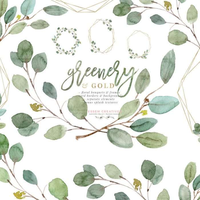 Greenery and Gold Wedding Invitation Graphics, Eucalyptus Branch Leaves Clipart for Invitations Logo Stationery Welcome Signs, Gold Foil Floral Frame Clipart, Watercolor Floral Card Borders and Backgrounds, Floral Clipart | 2019 2020 2021 Eucalyptus Wedding Invitations, Save the Date Cards, Bridal Shower, Greenery Tropical Jungle Wild One Birthday Party Invites and Decorations, Leaf Branch Organic Logo Branding Watercolor Illustration #watercolorflorals #watercolorclipart #weddinginvitations