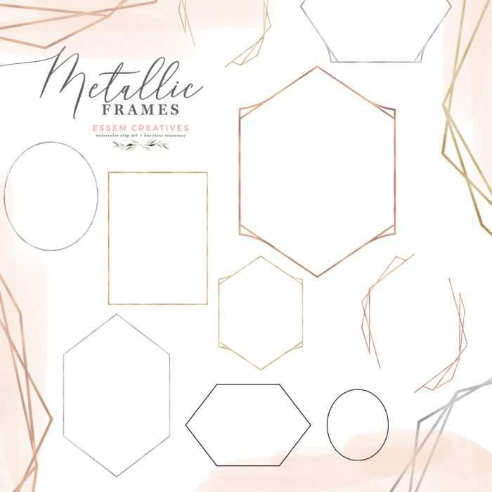 Metallic Geometric Frames Clipart in Rose Gold Foil, Gold Silver and Black | This is a set ofmetallic geometric empty frames in Rose Gold Foil, Gold Foil, Silver Foil, and Plain Black (for ease while using in cutting machine). Included are some modern shapes like hexagons and stylised hexagons, and also an open frame. There are cut outs in the open frame where you can place floral bouquets and other elements to create a unique design. Click to see more>>
