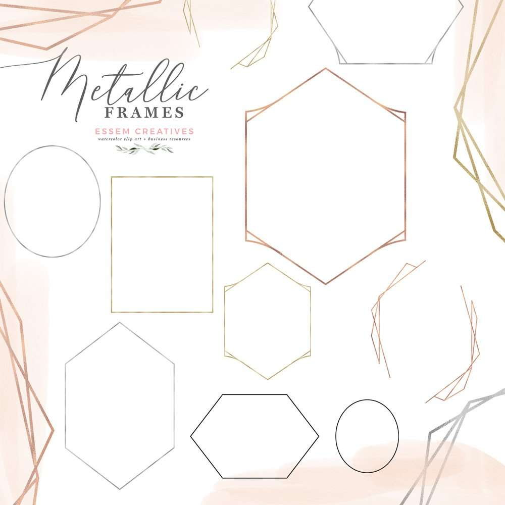 Metallic Geometric Frames Clipart in Rose Gold Foil, Gold Silver and Black