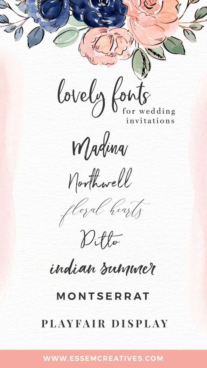 Best fonts for DIY wedding invitations designs, script fonts, cursive curly fonts and free standard fonts, serif and sans serif fonts which work really well for stationery designs, logos & branding. Click to see where to get them>> #graphicdesign #weddinginvitations #diywedding