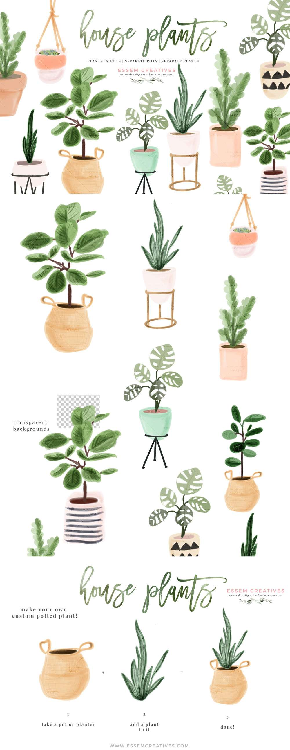 Watercolor House Plant Clip Art, Indoor Plants Potted Plant Graphics Clipart Illustrations, Cactus Succulents Urban Garden | Includes air purifier plants like fiddle leaf fig, monstera deliciosa, rubber plant, snake plant (sansaveria), Z plant, succulents. Cute modern basket, ceramic and terracotta pots and planters. Perfect for plant nursery logo branding, cards, house warming invitations, digital planner sticker deco & more! Click to see more>> #houseplants #indoorplants #watercolor