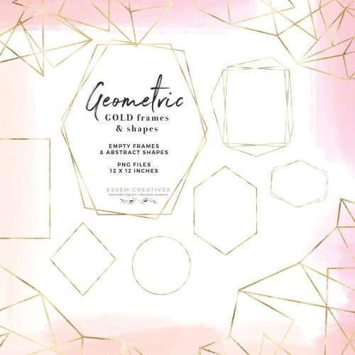 Gold Geometric Frames Abstract Border Shapes Clipart in Gold Foil