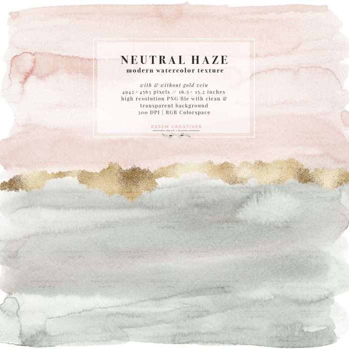 Neutral Haze Abstract Watercolor Splash Texture Graphic with Antique Gold Vein Clipart | Watercolor splash texture, ombre background, Watercolor wedding invitation, neutral blush and grey green watercolor, modern fine art romantic card background, large welcome sign instant download, splash splatter splodge paint brush strokes, textured graphics illustrations. Click to see more>> #abstractwatercolor #watercolor