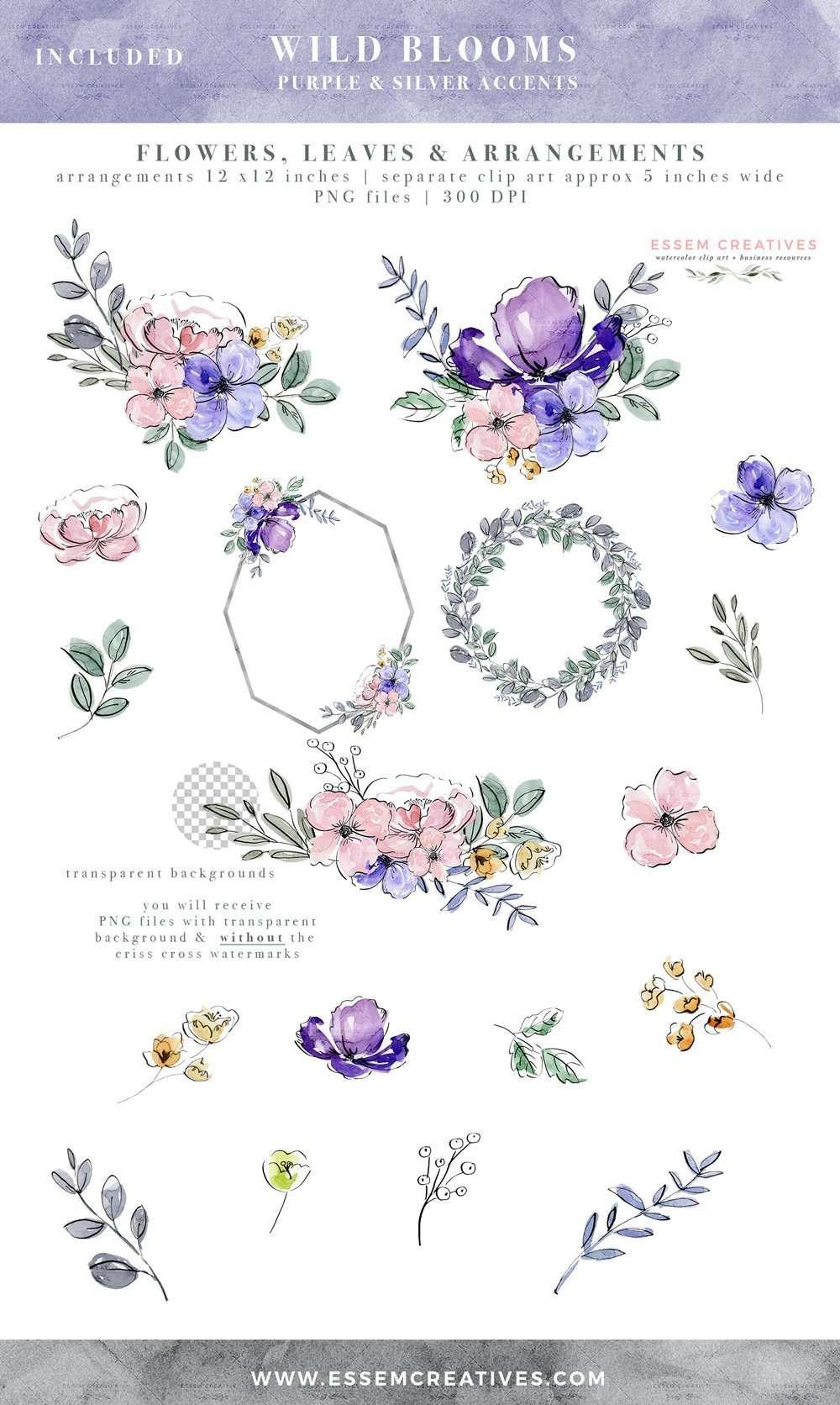 purple watercolor flowers clip art silver violet lavender
