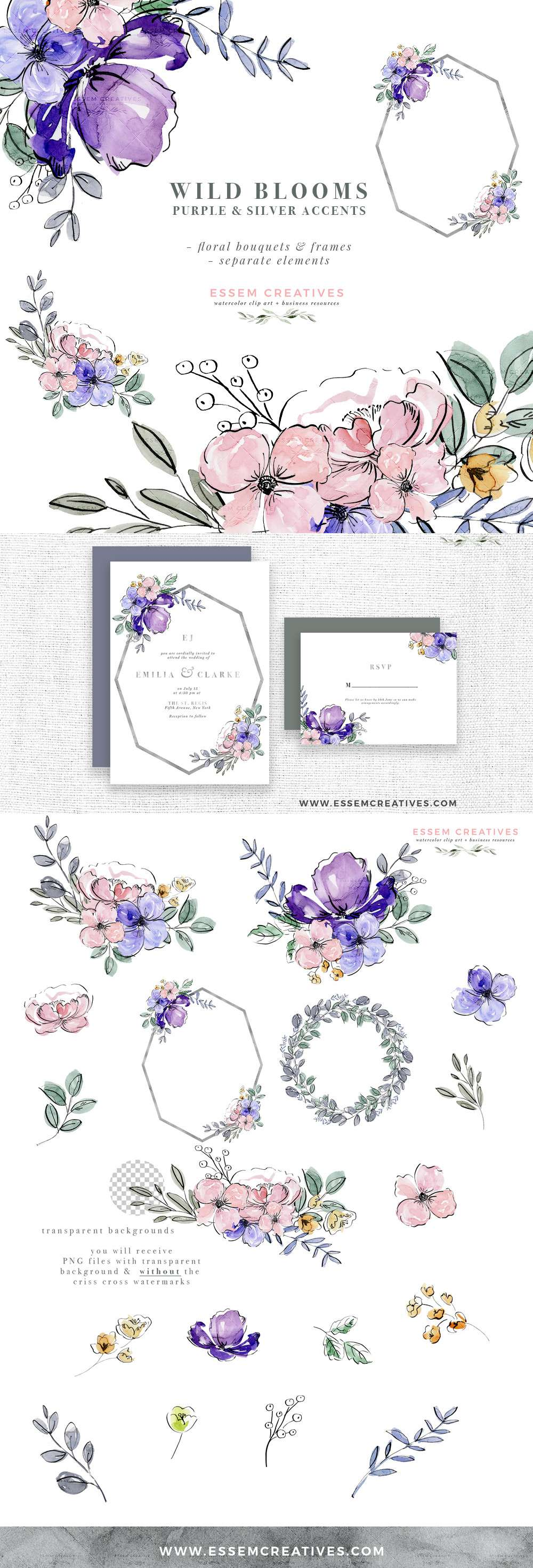 Purple Watercolor Flowers Clip Art, Silver Violet Lavender Floral Graphics Frames Bouquets PNG | Wild Blooms stands for nature's bounty in it's untethered form, reminiscent of softly scented meadows swaying with vibrant blue bells, wildflowers and may flowers | Boho chic wedding invitation 2019 2020 2021, bohemian outdoor wild free spirit theme party invites, purple logo and branding, website header branding, business cards, save the date. Click to see more>> #watercolorart #floralwatercolor
