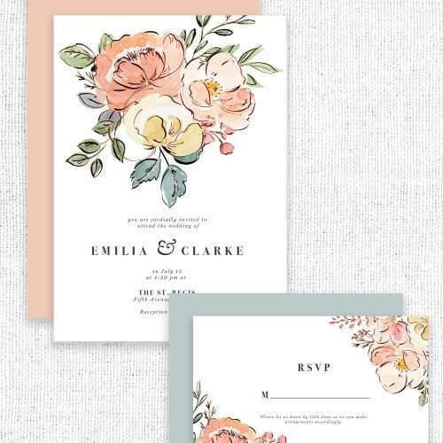 Summer Floral Watercolor Graphics Clip Art, Blush Pink Peach Yellow Peonies and Roses PNG | Use them to create gorgeous mothers day cards, floral watercolour wedding invitations 2019 2020 2021 & save the date cards, birthday party invites, bridesmaid proposal cards, bridal shower decoration, tea and brunch invites, menu cards table numbers welcome signs, for floral and feminine logos and branding, website design and more! Click to see more>> #watercolorart #floralwatercolor
