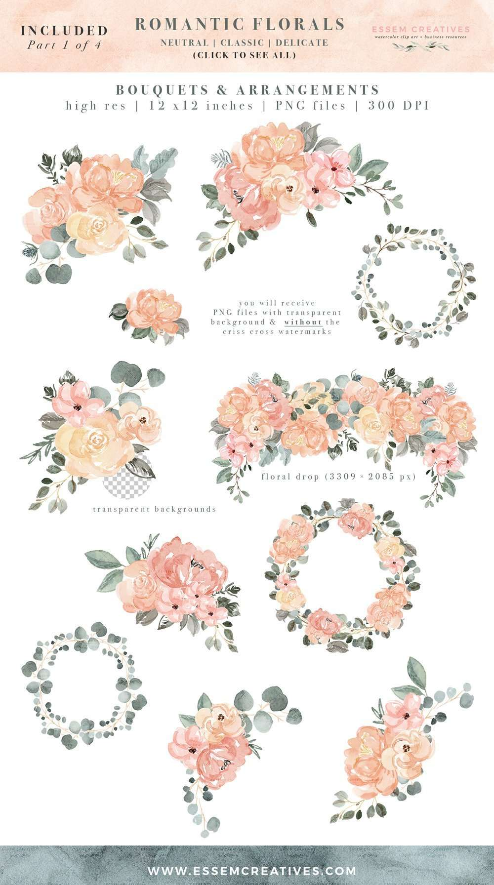 Watercolor Floral Clip Art Peach Blush Pink Sage Dusty Green