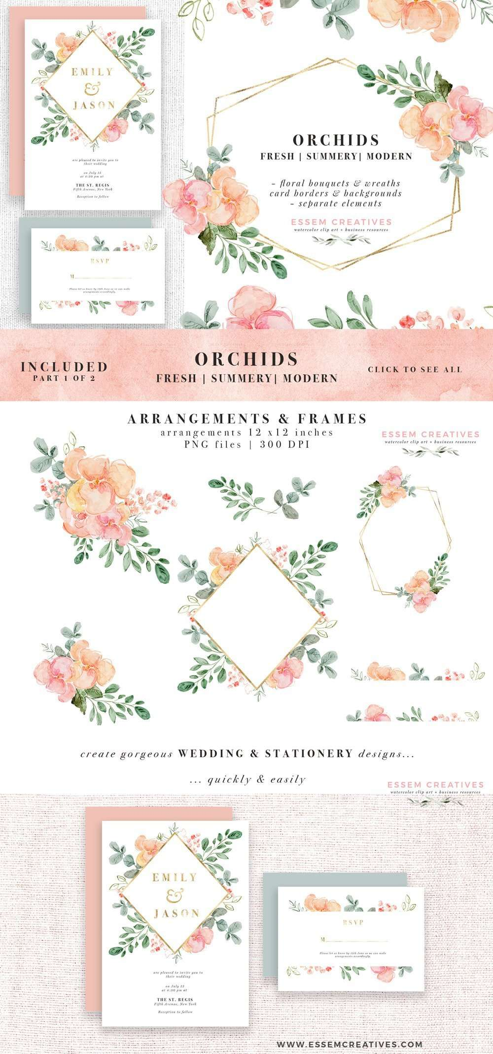 Watercolor Orchids Floral Graphics Clipart digital download | Tropical watercolour wedding invitation, peach pink watercolour save the date, DIY summer beach wedding, tropics birthday invite, bridesmaid proposal, bridal shower decoration on a budget, table numbers welcome signs, logo branding, line drawing, botanical illustration gold geometric floral frame background, digital paper, planner stickers, bouquets & wreaths, commercial use available. Click to see more>> #tropicalwedding #watercolor