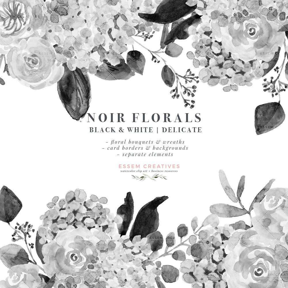 Simple Flower Wreath Clipart Black And White