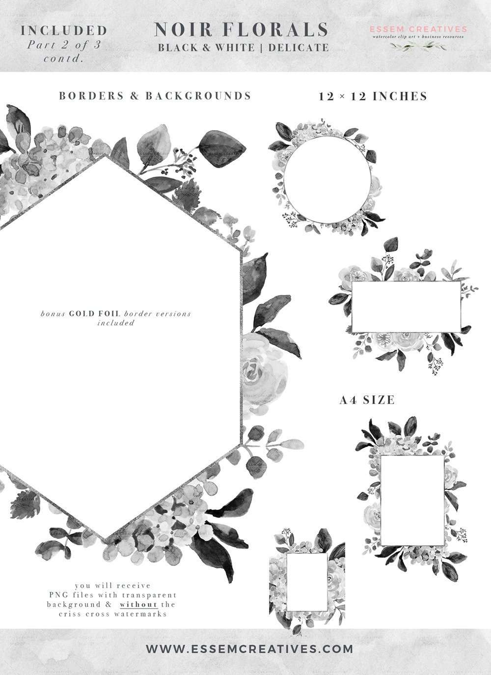 Black and White Watercolor Flowers Clipart, Gray ...