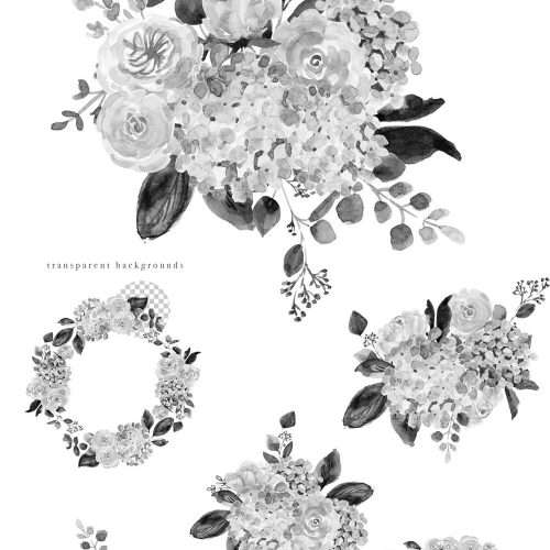 Black and white Floral watercolor graphics available as instant digital download. Included are watercolor hydrangeas, david austin garden roses, peonies, leaves, branches and foliage. Use in modern minimal graphic design projects. Inky watercolor wedding invitations & save the date cards, birthday party invites, bridesmaid proposal, bridal shower decoration, menu table numbers welcome signs, modern logos branding, website design #watercolor #blackandwhite #illustration #watercolorflorals