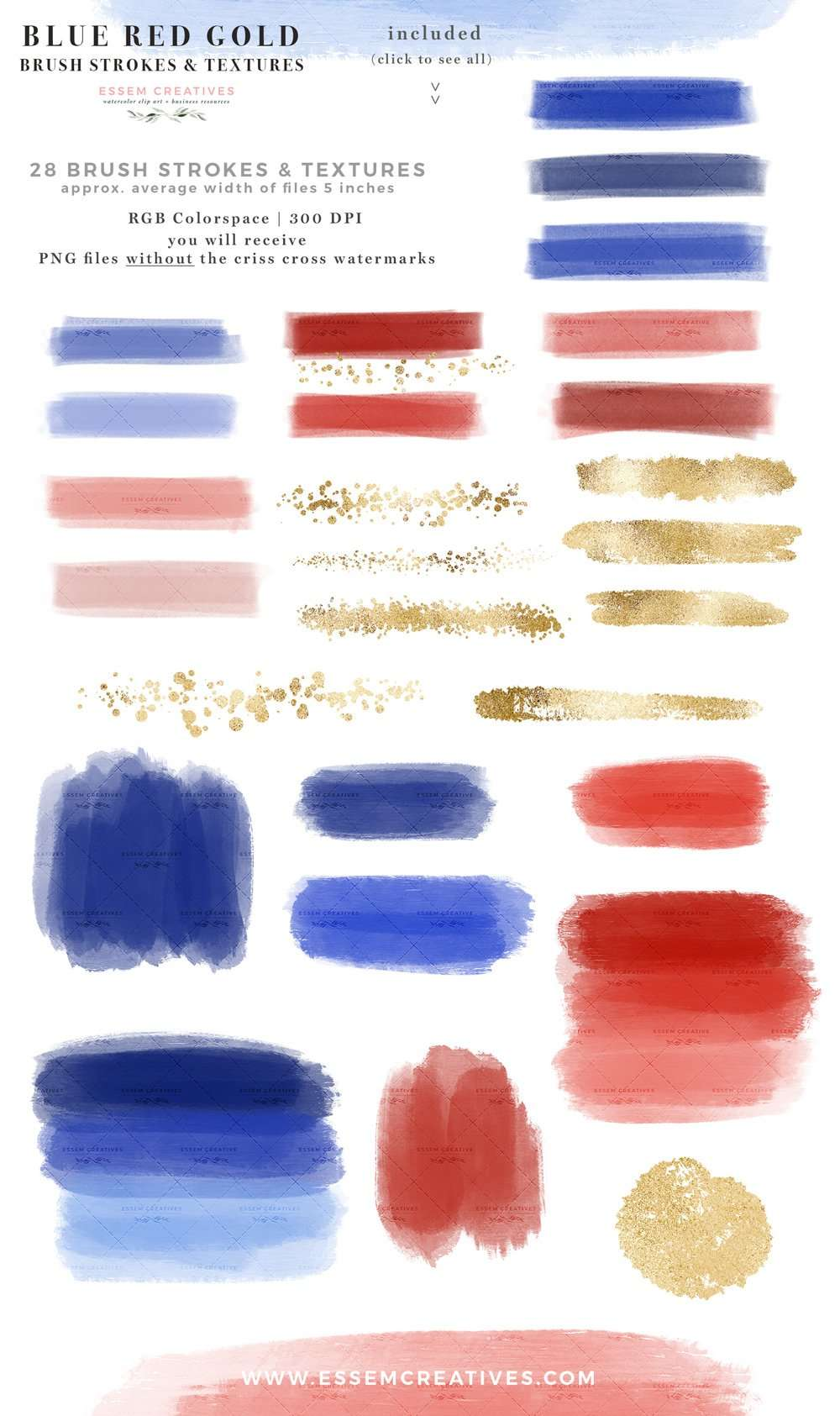 BLUE RED GOLD is a set of watercolor paint brush strokes, textures and confetti labels clipart graphics as PNG files in blue, red and gold glitter. Perfect for 4th of July, Memorial Day decor and other patriotic holiday designs such as DIY graphic design creations for planner stickers, bullet journal, digital planning, blog, branding, logo design, website blog branding, web elements, instagram story highlights posts stories, barbecue garden party invitations, independence day cards #4thofjuly