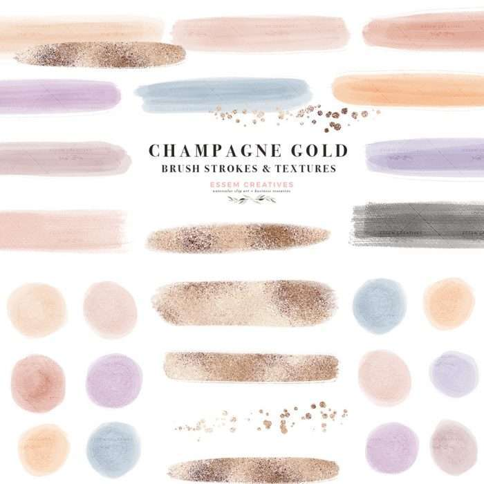 This is a set of abstract watercolor paint brush strokes, textures confetti labels clipart graphics as PNG files. Hand drawn in neutral muted color palette featuring pale retro desaturated colors in dusty rose,  pink, dusty blues, neutral mauve and purples. Also included are champagne rose gold foil labels strokes. Use as Planner stickers, bullet journal, digital planning, logo, website blog branding, web elements, instagram story highlights posts stories, party invitations #branding #webdesign
